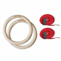 Wooden gymnastic rings with straps - 32 mm diameter