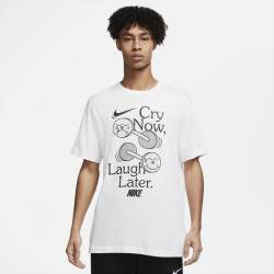 Man T-Shirt Nike Laugh later - white