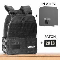 Zátěžová taktická plátová vesta 20 lb WORKOUT 4.0 - Black + nášivka (pro WOD Murph)